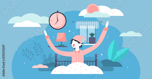 Obraz Waking up vector illustration. Flat tiny morning beginning persons concept. - fototapety do salonu