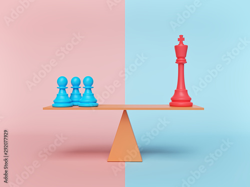 Fototapeta chess king and pawn standing on a balance