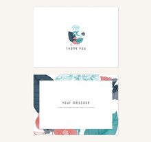 Floral Thank You Card Template Design, Flowers Bouquet In Red And Blue Tones On White