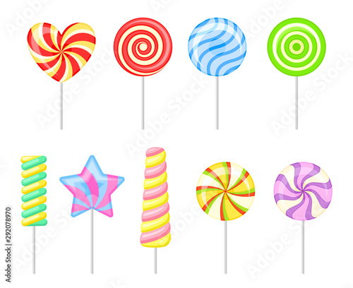Fototapeta Set of multi-colored lollipops