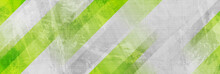 Tech Green Stripes On Abstract Grey Grunge Corporate Header Banner. Vector Background