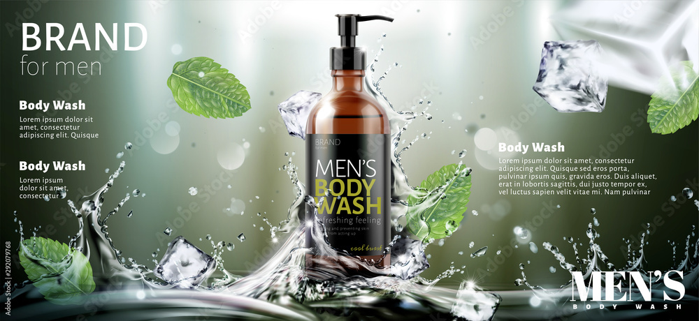 Fototapeta Men's body wash ads