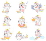 Set of cute cats unicorns. Vector illustration on a white background.