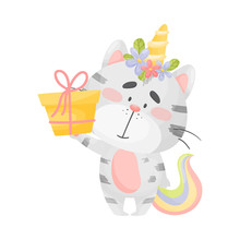 Cat Unicorn With A Gift. Vecto...