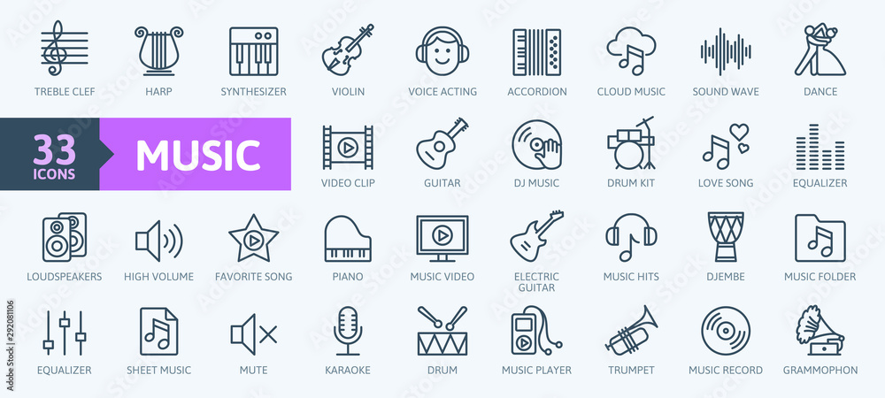 Fototapeta Music web icon set - outline icon set, vector, thin line icons collection