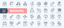 Wedding - Thin Line Web Icon S...