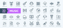Music Web Icon Set - Outline I...