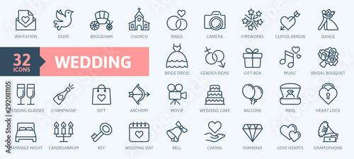 Fototapeta Wedding - thin line web icon set