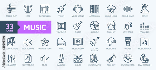 Fotomural Music web icon set - outline icon set, vector, thin line icons collection