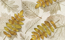 3d Illustration, Gray Fabric Background, Beige And Translucent Autumn Leaves