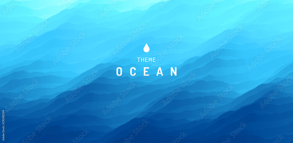 Fototapety, obrazy: Blue abstract ocean seascape. Sea surface. Water waves. Nature background. Vector illustration for design.