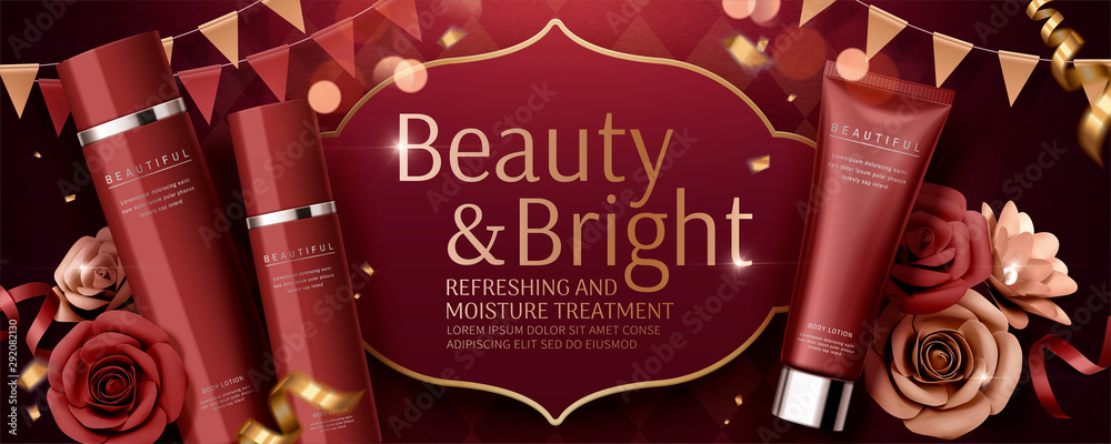Fototapeta Red skincare set banner ads