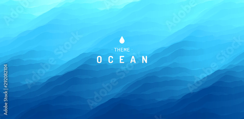 Door stickers Height scale Blue abstract ocean seascape. Sea surface. Water waves. Nature background. Vector illustration for design.
