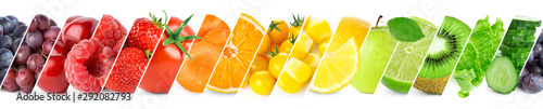 Collage of color fruits and vegetables. Fresh ripe food - 292082793