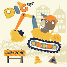 Cartoon Of Bear Driving Construction Vehicle With