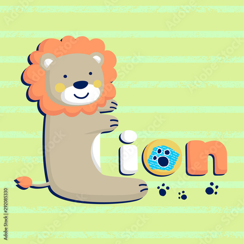 Echelle de hauteur funny lion cartoon shaped L letter on striped background