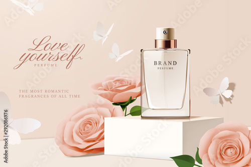 Perfume ads with paper roses Canvas Print