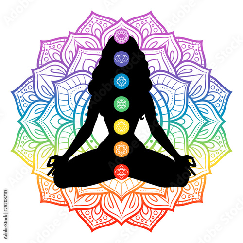 Obraz Seven chakras on meditating yogi woman silhouette, vector illustration - fototapety do salonu