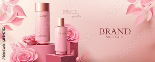 Pink cosmetic ads with paper roses