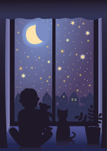 Little Boy With His Teddy Bear And Cat Looking At The Starry Sky