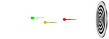 Diffrent Color Arrows Flying Towards To Target, Financial Banner, Marketing Banner Background For Slider