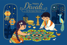 Lovely Diwali Illustration
