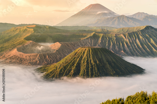 Obraz Beautiful view of Mount Bromo volcano during sunrise with white mist at Bromo tengger semeru national park, East Java, Indonesia - fototapety do salonu