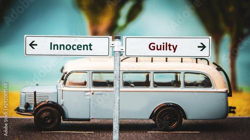 Canvastavla  Street Sign Innocent versus Guilty
