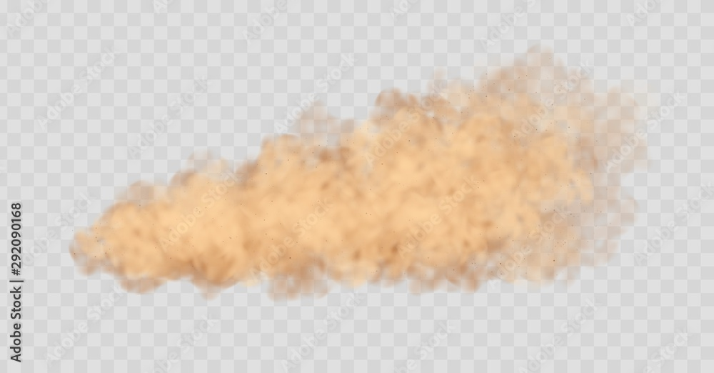 Fototapety, obrazy: Dust cloud isolated on transparent background. Sand storm, beige powder explosion, desert wind concept. Realistic vector illustration.