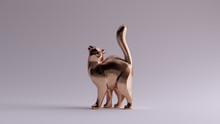 Bronze Cat Styled Sculpture Looking Up With Its Tail Up Left View 3d