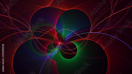 Fotobehang Fractal waves 3D rendering abstract fractal technology wallpaper