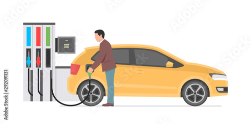 Gas station and man. isolated on white background Canvas Print