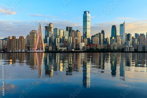 In de dag Toronto Chongqing skyline and modern urban skyscrapers with water reflection at sunset,China.