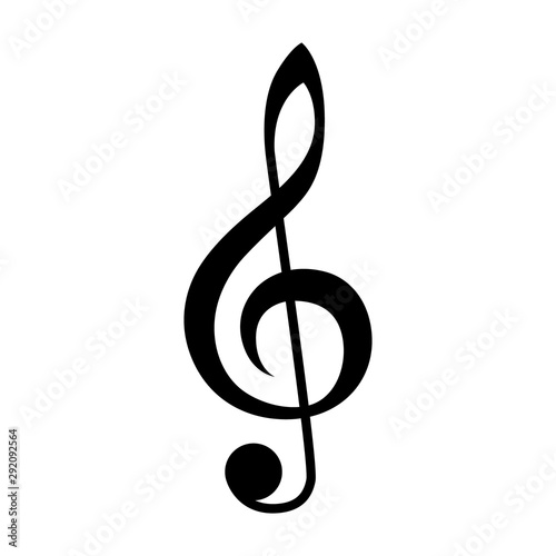 Obraz na płótnie Treble clef or classical music note flat vector icon for musical apps and websit