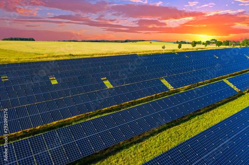 Sunset over solar panels