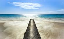 Photo Of A Drain Into The Sea Located On A Pristine Beach In Perth Western Australia.