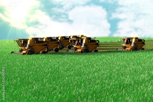Photo Many yellow wheat harvesters work on huge green field - top view in air photo st