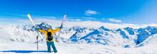 Ski In Winter Season, Mountain...