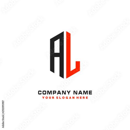 AL Initial Letter Logo Hexagonal Design, initial logo for business, Wallpaper Mural