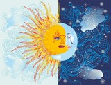 Fototapeta Do akwarium -  composition with the opposite of day and night, sun and moon
