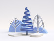 Leinwanddruck Bild blue geometric shape white scene abstract christmas decoration 3d render