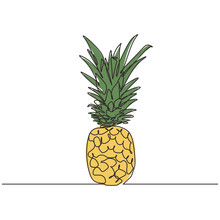 Pineapple Continuous One Line Drawing Vector Minimalism Design With Colors.
