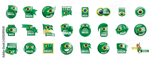 Foto Brazil flag, vector illustration on a white background