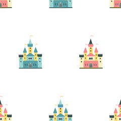 The palaces of the princess. Vector seamless pattern in cartoon scandinavian style. Colorful royal castles on a white background. Ideal for textiles, wallpaper, wrapping paper.