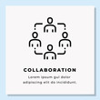 COLLABORATION SINGLE LINE ICON ON BLUE BACKGROUND