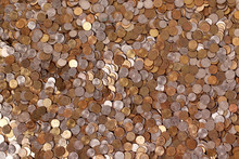 Top View Of Coins. Russian Small Copper Coins.