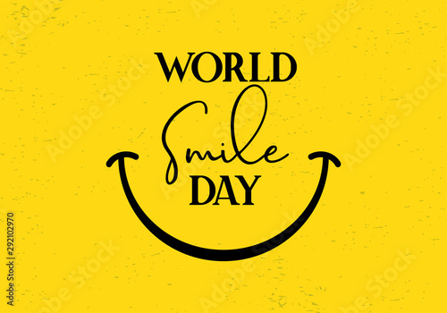 Happy World smile day greeting vector banner template celebration card design