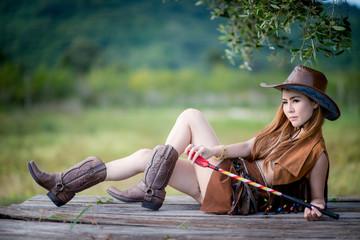 girl ride horse in farm