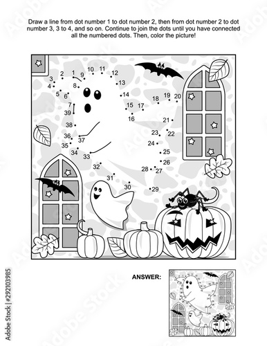 Connect the dots picture puzzle and coloring page - Halloween spooky ghost in a castle, pumpkins, bats, Jack-o-lantern Canvas Print