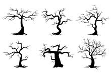 Halloween Creepy Tree Illustration In Silhouette Style